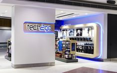 Tech2Go is a new retail concept from LS Travel Retail. Thoughtspace designed the flagship store at Sydney Airport and have rolled out a number of other stores in other Airport Terminals. Offering a wide range of technology accessories, gadgets and audio equipment, the Tech2go store design is slick and clean with strong graphic details and blue LED lighting accents.