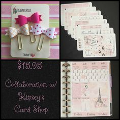Collaboration w/Kipsey's Card Shop Get a set bookmark paperclips & planner stickers for only $15.95 See it on ETSY...http://buff.ly/2sY7JTd?utm_content=bufferbb137&utm_medium=social&utm_source=pinterest.com&utm_campaign=buffer @stickitinyourpl #planner #stickers# #erincondren #ec #eclp #happyplanner #mambi #stickitinyourplanner #plannerkit #plannerstickers #etsystickers #etsy #stickersale #siiyp #bowbookmark #paperclip