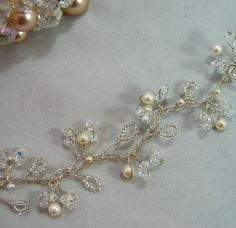 Crystal & Pearl Hair Vine - Wedding / Bridal- Handmade - Choice of colours -BNIB