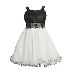 Perfect for special occasions, this girls' dress from Bonnie Jean sparkles with bold style. Sequins decorate the bodice, while floral embroi...