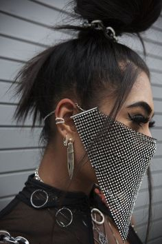 Trending: Festival Fashion Masks   Fashion Cognoscente Undercut Hairstyles Women, Mouth Mask Fashion, Fashion Face Mask, Diy Mask, Diy Face Mask, Festival Outfits, Festival Fashion, Rave Mask, Face Jewellery