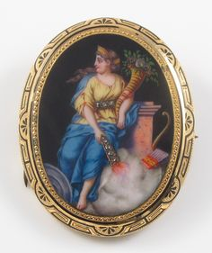 14K Gold Victorian Swiss Enamel Goddess Portrait Rose Cut Diamond Brooch Pin | eBay
