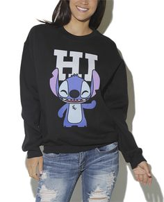 Lilo and Stitch sweatshirt with ripped jeans :) hair in a bun and simple eyeline - Geeky Shirts - Ideas of Geeky Shirts - Lilo and Stitch sweatshirt with ripped jeans hair in a bun and simple eyeliner go great with this look Lilo And Stitch 3, Cute Stitch, Stitch Sweatshirt, Disney Outfits, Sweater Jacket, Cute Shirts, Sweater Weather, Ripped Jeans, Cool Outfits