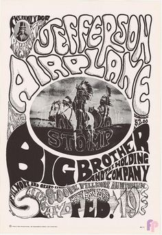 ☯☮ॐ American Hippie Psychedelic Art ~ Jefferson Airplane at Fillmore Auditorium 2/19/66 by Wes Wilson & Chet Helms