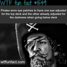 Funny pictures about The reason pirates wore eye patches. Oh, and cool pics about The reason pirates wore eye patches. Also, The reason pirates wore eye patches. Wow Facts, Wtf Fun Facts, True Facts, Funny Facts, Random Facts, Crazy Facts, Silly Facts, Gross Facts, Random Stuff
