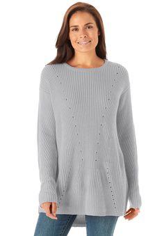 Plus Size Shaker knit scoop neck sweater