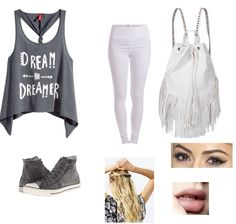 Cute gray and White outfit.