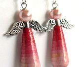 Paper Bead Angel Jewelry - Earrings - Eco Jewelry - Fuchsia Pink Ombre - #1618