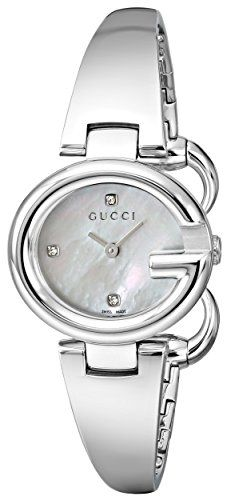 19a362f5d33 Amazon.com  Gucci Guccissima Stainless Steel Diamond-Accented Bangle  Women s Watch(Model YA134504)  Watches