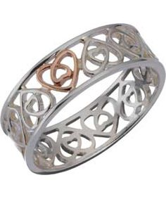 St. David's Silver and 9ct Rose Gold Filigree Ring.