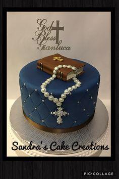 Communion cake Confirmation cake Boys First Communion Cakes, Boy Communion Cake, Bolo Lady Bug, Christening Cake Girls, Bible Cake, Religious Cakes, Confirmation Cakes, Love Cake, Creative Cakes