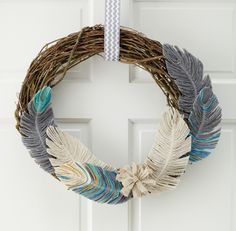 """Designer:Jenny Kolenda Make your own unique collection of beautiful feathers using yarn and wire. 1.Use a glue stick to apply glue to end of an 9""""-long piece of 18-gauge green cloth-covered floris..."""