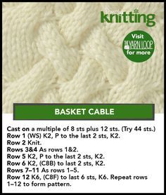 basket cables basket cables Record of Knitting String rotating, weaving and stitching jobs such as for instance BC. Cable Knitting Patterns, Bamboo Knitting Needles, Knitting Stiches, Free Knitting, Loom Knitting Stitches, Knit Patterns, Knit Dishcloth, Stitch Patterns, Crochet Pattern