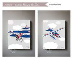 Airplane Boys wall art    Airplane Canvas Art  Boys by MuralMAX, $120.00