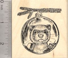 Christmas Ferret Rubber Stamp, Reflection in Holiday Tree Ornament  K23106 WM