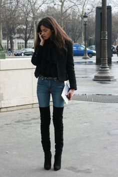 how to style h amp m fine knit dress - Google Search Thigh High Boots Outfit 24d3a47cb