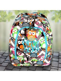 Gray Chevron Owl Party Large Backpack with Aqua Trim