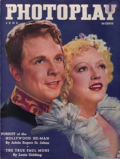 """Dick Powell and Marion Davies on the cover of """"Photoplay"""" magazine, USA, June 1936."""