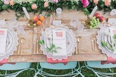 A southern inspired tablescape complete with an old door-turned table, vintage hand painted chairs and elegant lace settings Brunch Wedding, Our Wedding Day, Dream Wedding, Paisley Wedding, Hand Painted Chairs, Wedding Table Decorations, Industrial Wedding, Color Of The Year, Wedding Designs