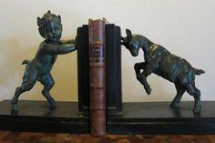 Gorgeous French art deco bookends: little faun & goat by Em. Chandeliers, Art Nouveau, Bronze, Satyr, French Art, I Love Books, Goat, Bookends, Random Stuff