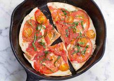 Mozzarella and Tomato Skillet Pita Pizzas