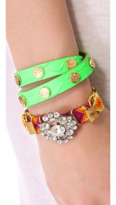 Tory Burch Double Wrap Logo Bracelet | SHOPBOP.... Summer green :)