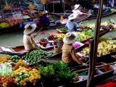Markets : Galleggianti mercato in Bangkok2  Archivio Fotografico