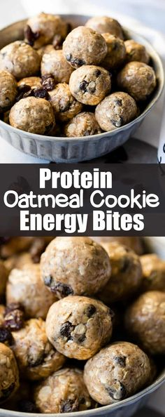 Looking for healthy snack ideas? Me too. Protein Oatmeal Cookie Energy Bites are full of almond butter, raisins, protein powder, and heart healthy oats! via @ohsweetbasil