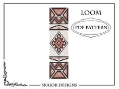 Bracelet perle métier motif Tribal ethnique rocaille perle motif Native American carré broderie motif perlé géométrique perles rouge