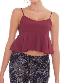 Letting Go Crop Top - Burgundy - Piin | ShopPiin.com #festival #cochella #sale