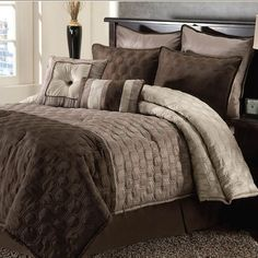 Master ... Bryan Keith - Hamilton Eight-Piece Comforter Set In Taupe And Chocolate  Item CLAHML8CSNXT3