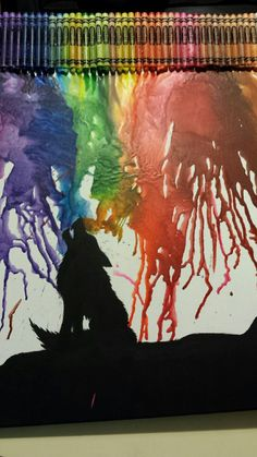 Howling wolf with melted crayon by Charlie Jo L. L.