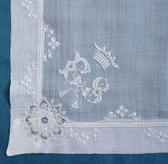French antique whitework handkerchief - coronet + monogram estate of a Countess