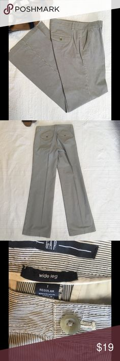 Gap trouser wide leg stretch Blue and white pinstripe, slash front pockets for flattering fit. Zip front. Wide leg in comfortable stretch fabric. Gently worn and dry cleaned. Gap Pants