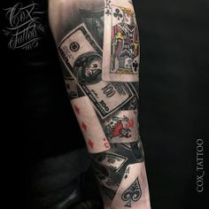 TATTO IDEAS & INSPIRATIONS Poker half-sleeve with cards and money floating around. This piece was done by Cox Tattoo, an artist working from a private Card Tattoo Designs, Tatto Design, Tattoos Gallery, Dog Snacks, Sleeve Tattoos, Tattoo Sleeves, Tattoo Neck, 100 Tattoo, Cool Tattoos