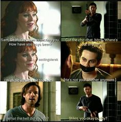 Rowena has turned Stiles into something.and the Winchesters have to find out what it is and save him. I'm loving these crossovers 💜💜💜 Supernatural Crossover, Supernatural Tv Show, Winchester Boys, Winchester Brothers, Teen Wolf Ships, Teen Wolf Memes, Fandom Crossover, Fandoms, Sterek