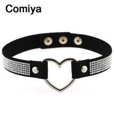 205,06 руб Comiya подвески в форме сердца посеребренные черный красный веревку цепи ожерелья rhinestone блестящий кожаный ожерелье колареш женщина для купить на AliExpress
