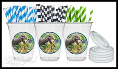 Jurassic World Birthday Party Supplies Decorations - Custom Party Drink Cups - 8 Guest Set