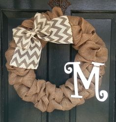 Burlap Wreath with Gray Chevron Burlap Bow- Front Door Wreath- Monogram Wreath-Wedding Decoration- Wedding Gift- on Etsy, $57.16 CAD