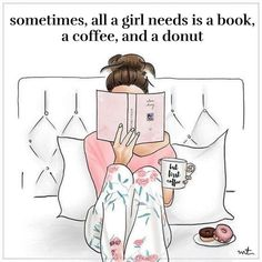 Illustration Fashion Its going to be a lazy day. Reading in bed, pajamas, coffee, donuts :) Fashion Sketches, Fashion Illustrations, Illustration Fashion, I Love Books, Coffee And Books, Book Nerd, Book Lovers, Book Worms, Art Drawings