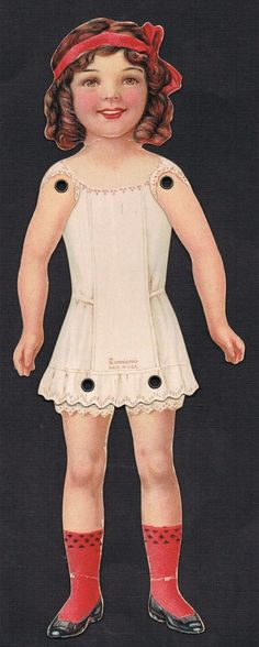 Dennison Jointed Girl Paper Doll Crepe Paper Clothing Extra Hand Made Clothing | eBay