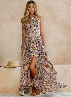 General Pink Vacation Dresses X-line Dress Polyester Boho Spring Maxi Summer Floral Sleeveless S M L XL XXL Slip Camisole Neckline Dress Boho Chic, Boho Style, Spring Fashion Outfits, Look Fashion, Floryday Vestidos, Mode Boho, Outfit Trends, Outfit Ideas, Necklines For Dresses
