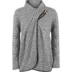 Vicki Zig Zag Knitted Cardigan ($30) ❤ liked on Polyvore featuring tops, cardigans, black, drapey cardigan, zip cardigan, stripe cardigan, drape top and long sleeve tops