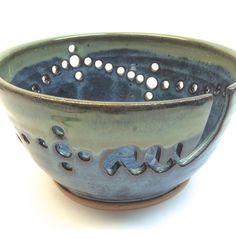 XXL cerámica hilados Bowl tejer Bowl medianoche azul y niebla verde borde hecho por encargo