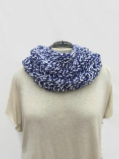 Blue Knit Cowl Hand Knit Neck Cowl Kentucky Blue by AgapeKnits