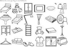 les objets de la chambre à coucher: cherchez l´intrus