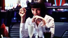 "Uma Thurman as ""Mia Wallace"" in Pulp Fiction - Directed By Quentin Tarantino Uma Thurman Pulp Fiction, Mia Wallace, Quentin Tarantino, John Travolta, Bruce Willis, Jackson, Best Bob Haircuts, Best Bobs, Fritz Lang"