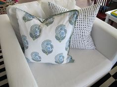 world market napkins -- sew on 2 old white pillows