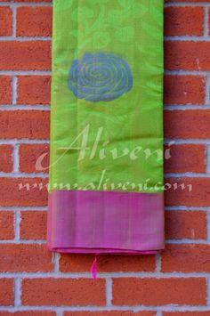 Parrot Green Kuppadam Tissue Saree with Dual Shaded Burgundy Pink Silk Borders
