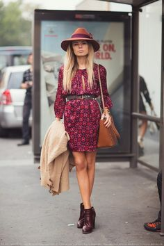 fall minidress with ankle boots and hat Style outfit clothing women apparel fashion beautiful hat dress shoulder bag handbag shoes summer street